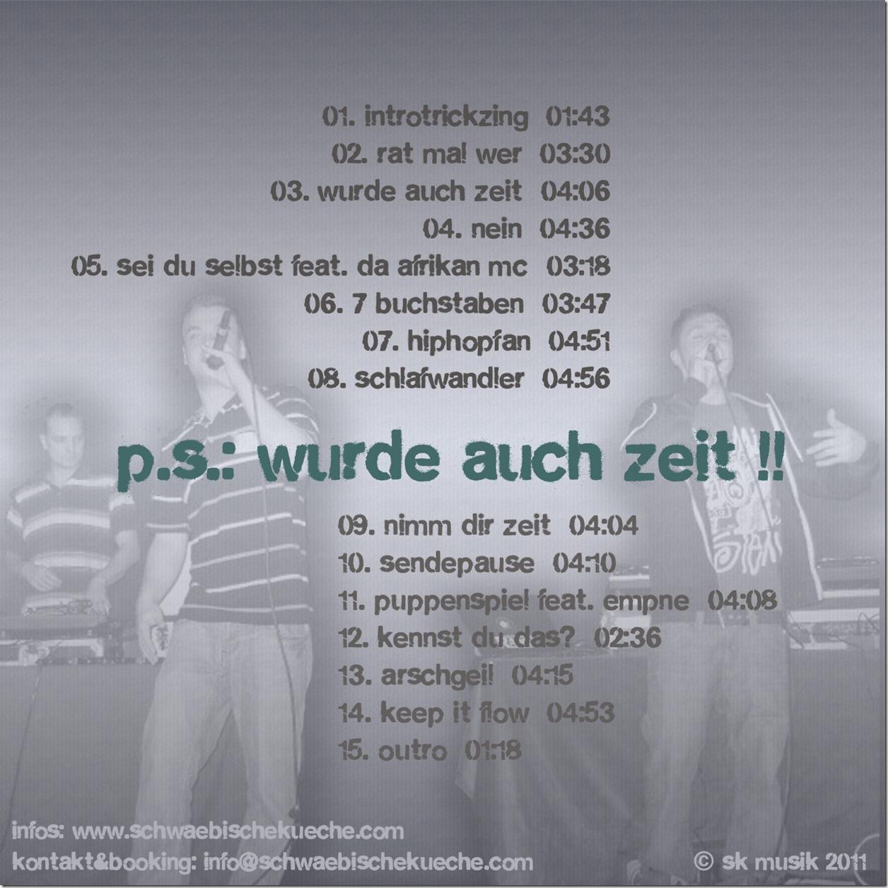 Schwäbische Küche - PS Wurde auch Zeit (Back Cover)