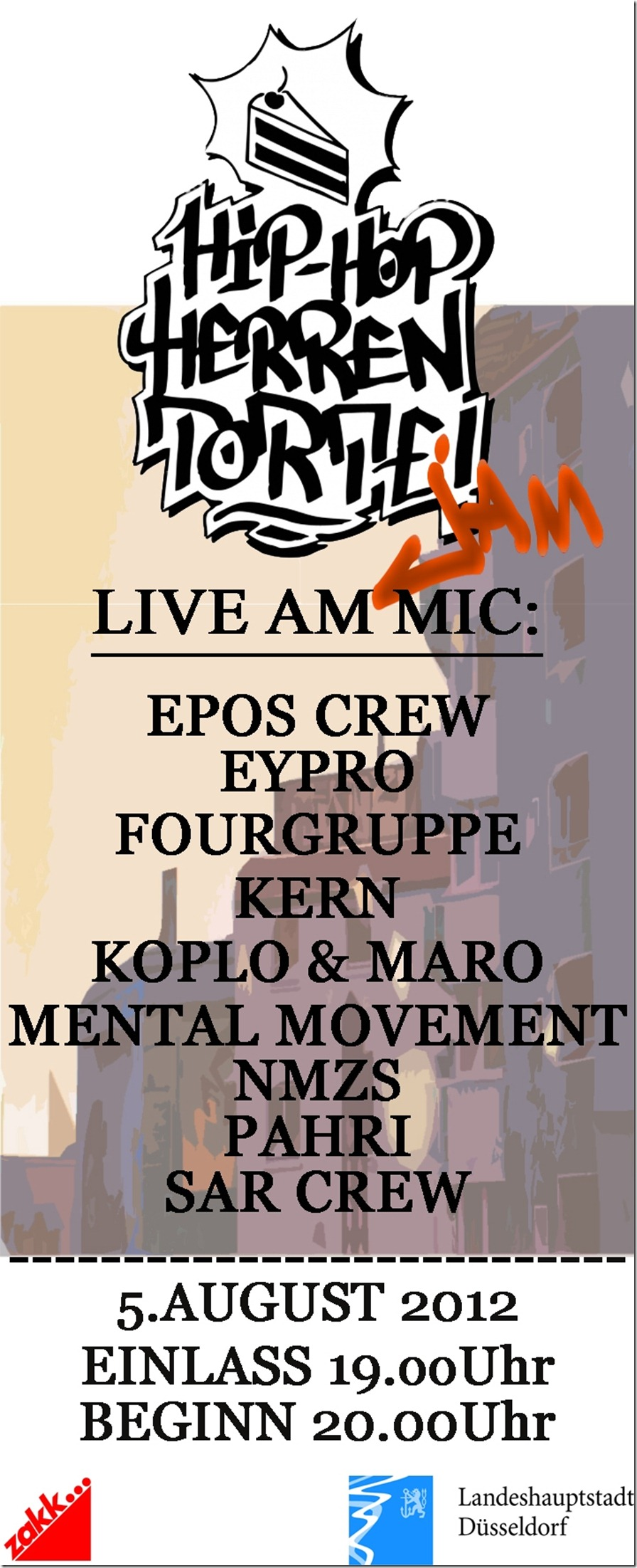 Hip Hop Herrentorte Jam mit Epos Crew, Eypro, Fourgruppe, Kern, Koplo & Maro, Mental Movement, NMZS, Pahri & SAR Crew (FLYER)
