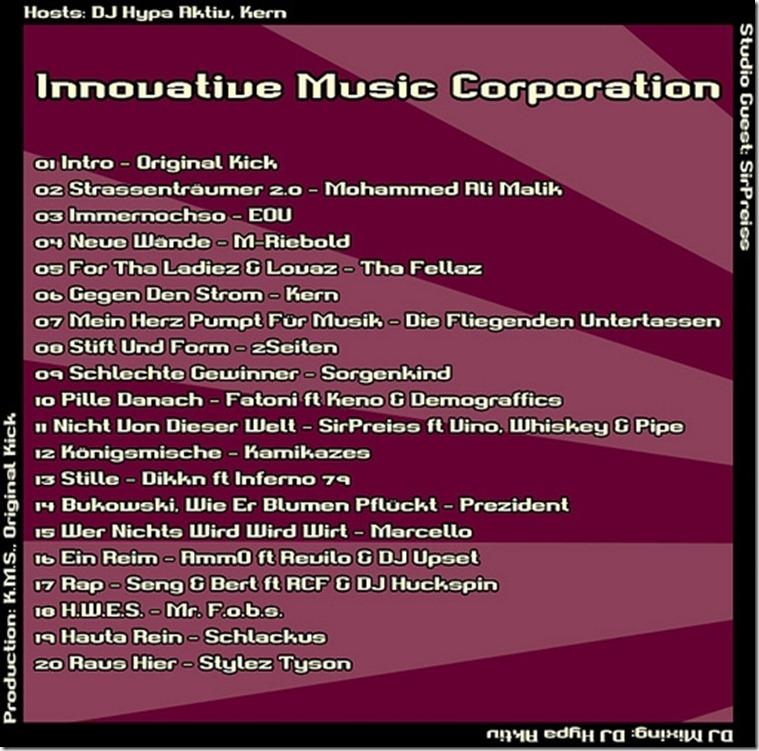 IMC Radio Mixshow 01-2012 mit SirPreiss TRACKLIST