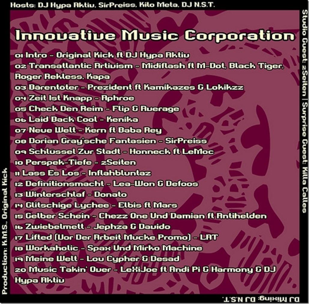 IMC Radio Mixshow 02-2012 mit Backdraft (2Seiten) TRACKLIST