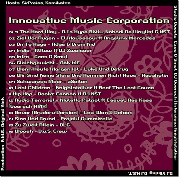 IMC Radio Mixshow 03-2012 mit Czes, Smut & DJ Goersch TRACKLIST