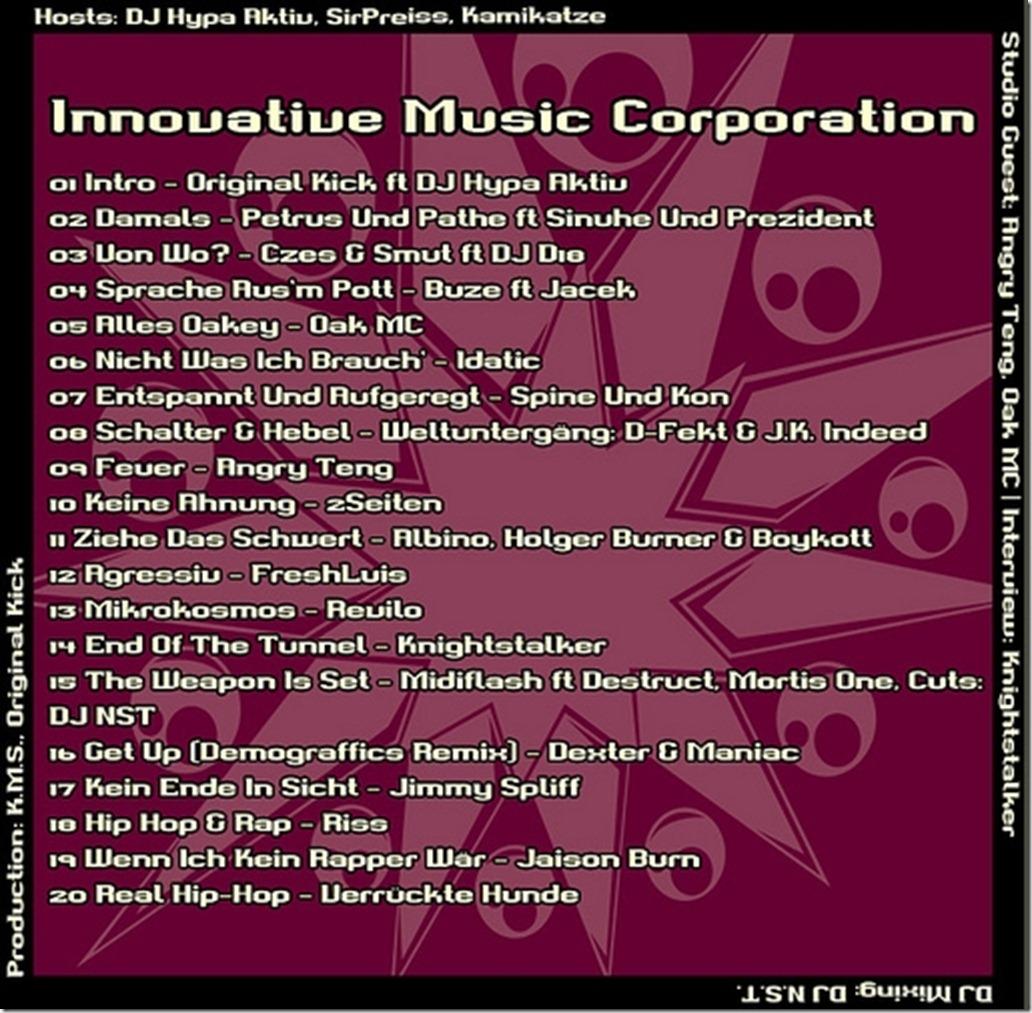IMC Radio Mixshow 04-2012 mit Angry Teng, Oak MC & Knightstalker TRACKLIST