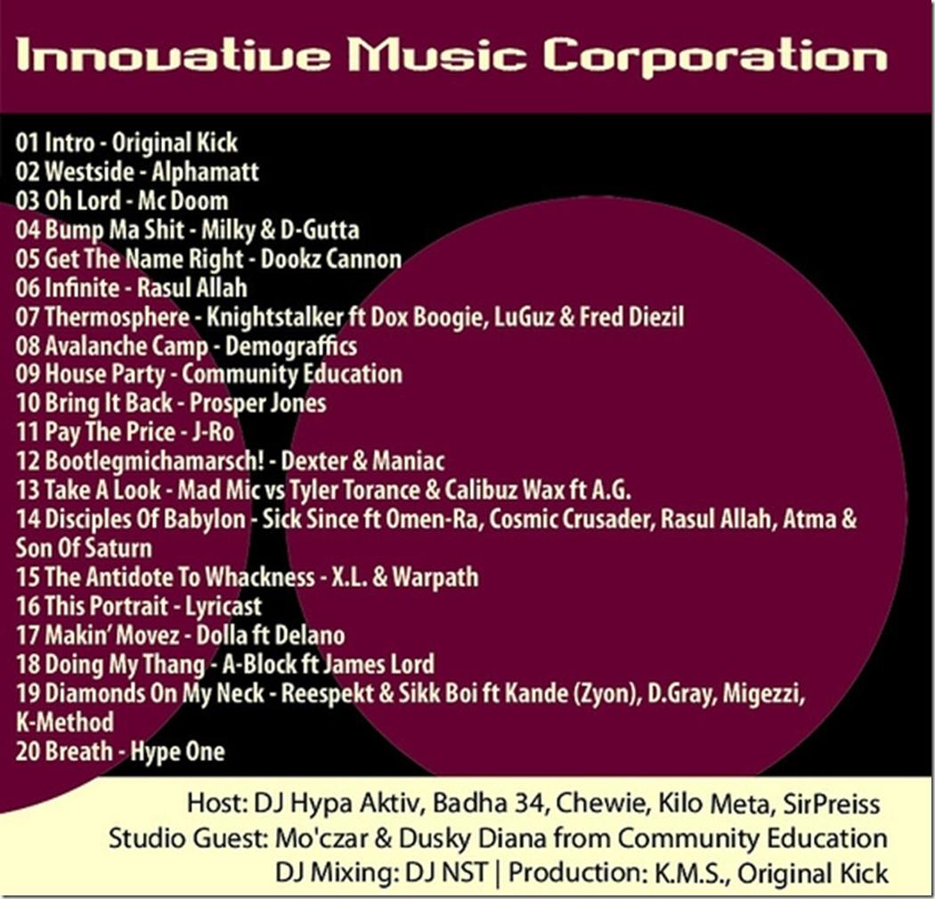 IMC-Radio-Mixshow-08-2011-Moczar-Dusky-Diana-Community-Education-Tracklist
