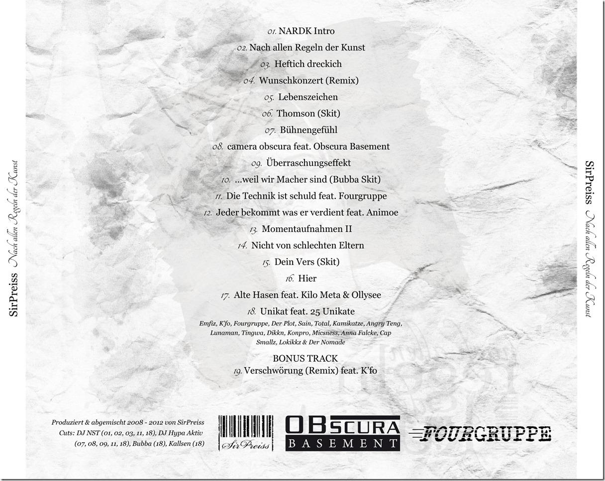SirPreiss - Nach allen Regeln der Kunst (Back Cover)