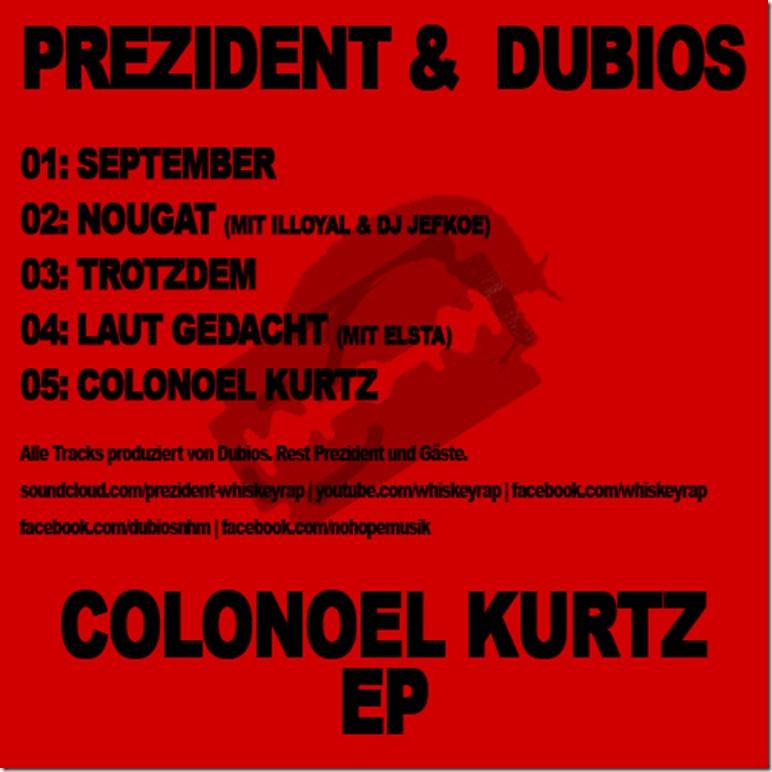 Prezident & Dubios - Colonel Kurtz EP (Back Cover)