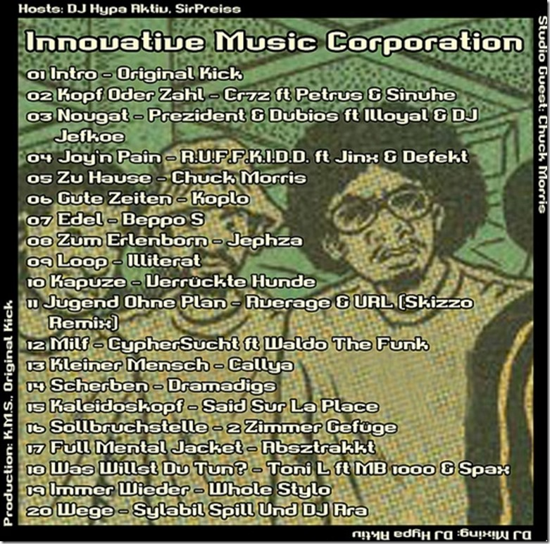IMC Radio Mixshow 09-2013 mit Chuck Morris (Tracklist)