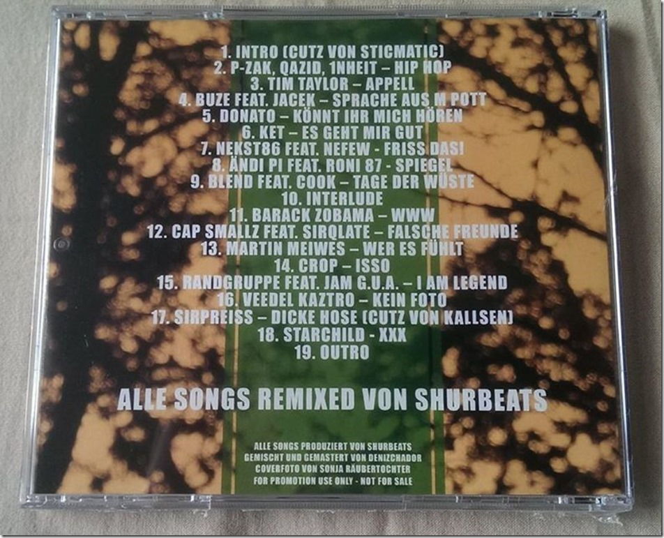 Shurbeats - Deutschrap Remixes Vol. 1 (CD Backcover)